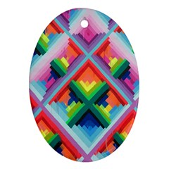 Rainbow Chem Trails Oval Ornament (two Sides)