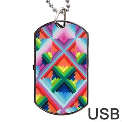 Rainbow Chem Trails Dog Tag Usb Flash (two Sides)