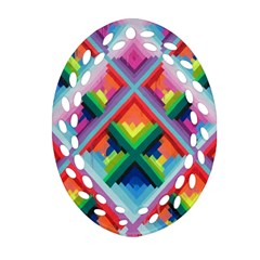 Rainbow Chem Trails Ornament (oval Filigree)
