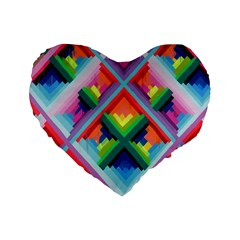 Rainbow Chem Trails Standard 16  Premium Heart Shape Cushions