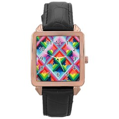 Rainbow Chem Trails Rose Gold Leather Watch