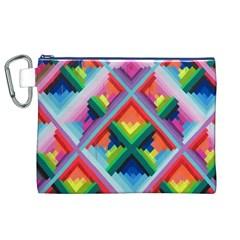 Rainbow Chem Trails Canvas Cosmetic Bag (xl)