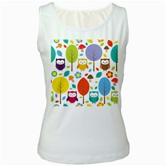 Cute Owl Women s White Tank Top