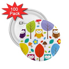 Cute Owl 2 25  Buttons (100 Pack)