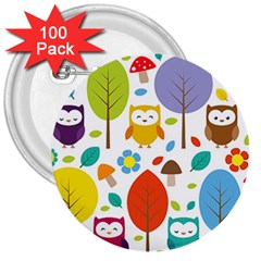 Cute Owl 3  Buttons (100 pack)
