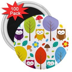 Cute Owl 3  Magnets (100 Pack)