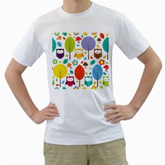 Cute Owl Men s T-Shirt (White) (Two Sided)