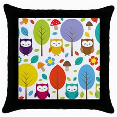 Cute Owl Throw Pillow Case (black)