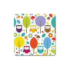 Cute Owl Square Magnet