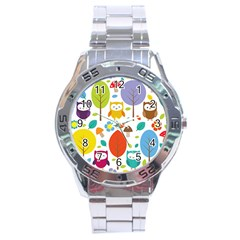 Cute Owl Stainless Steel Analogue Watch