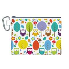 Cute Owl Canvas Cosmetic Bag (L)