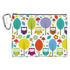 Cute Owl Canvas Cosmetic Bag (XXL)
