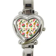 Fruits Pattern Heart Italian Charm Watch