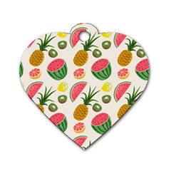Fruits Pattern Dog Tag Heart (two Sides)