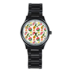 Fruits Pattern Stainless Steel Round Watch