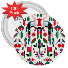 Abstract Peacock 3  Buttons (100 pack)