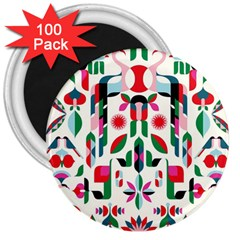 Abstract Peacock 3  Magnets (100 Pack)