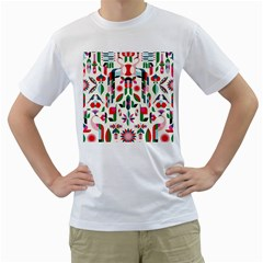 Abstract Peacock Men s T Shirt (white) (two Sided)
