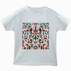 Abstract Peacock Kids White T Shirts