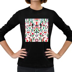 Abstract Peacock Women s Long Sleeve Dark T-Shirts