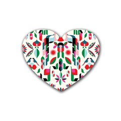 Abstract Peacock Heart Coaster (4 Pack)