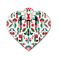 Abstract Peacock Dog Tag Heart (one Side)