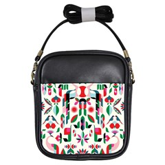 Abstract Peacock Girls Sling Bags