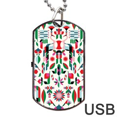 Abstract Peacock Dog Tag USB Flash (Two Sides)