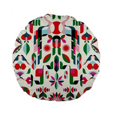 Abstract Peacock Standard 15  Premium Round Cushions