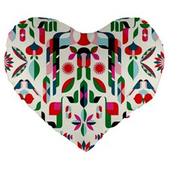 Abstract Peacock Large 19  Premium Heart Shape Cushions