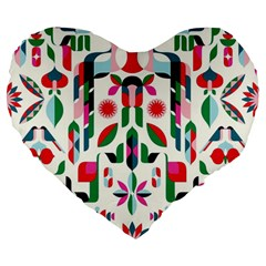 Abstract Peacock Large 19  Premium Flano Heart Shape Cushions