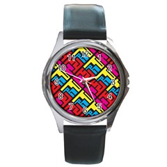 Hert Graffiti Pattern Round Metal Watch