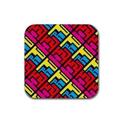 Hert Graffiti Pattern Rubber Square Coaster (4 Pack)