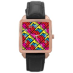 Hert Graffiti Pattern Rose Gold Leather Watch