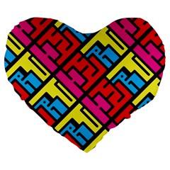 Hert Graffiti Pattern Large 19  Premium Flano Heart Shape Cushions