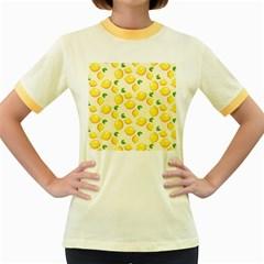 Lemons Pattern Women s Fitted Ringer T Shirts