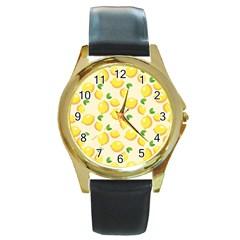 Lemons Pattern Round Gold Metal Watch
