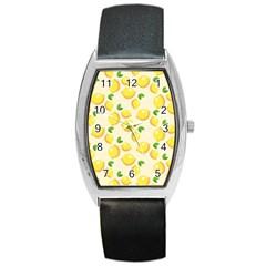 Lemons Pattern Barrel Style Metal Watch