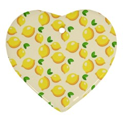 Lemons Pattern Heart Ornament (Two Sides)