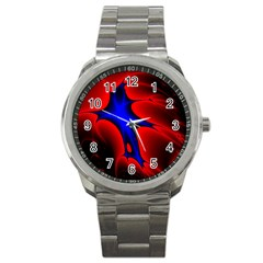 Space Red Blue Black Line Light Sport Metal Watch