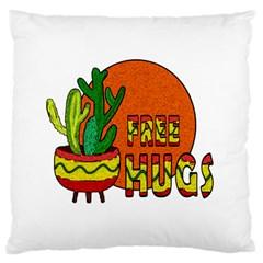 Cactus - free hugs Large Flano Cushion Case (Two Sides)