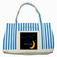 Star Moon Good Night Blue Sky Yellow Light Striped Blue Tote Bag