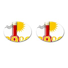 Thermometer Themperature Hot Sun Cufflinks (Oval)