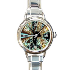 Silver Gold Hole Black Space Round Italian Charm Watch