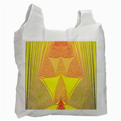 Wave Chevron Plaid Circle Polka Line Light Yellow Red Blue Triangle Recycle Bag (Two Side)