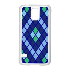 Blue Diamonds Green Grey Plaid Line Chevron Samsung Galaxy S5 Case (white)