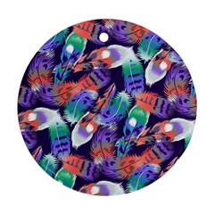 Bird Feathers Color Rainbow Animals Fly Round Ornament (Two Sides)
