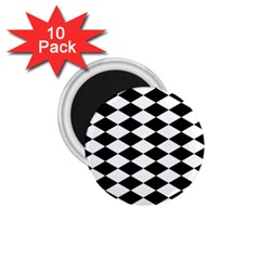 Diamond Black White Plaid Chevron 1.75  Magnets (10 pack)