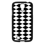 Diamond Black White Plaid Chevron Samsung Galaxy S4 I9500/ I9505 Case (Black) Front