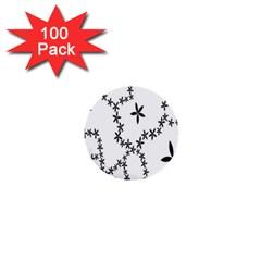 Flower Floral Black Line Wave Chevron Fleurs 1  Mini Buttons (100 pack)